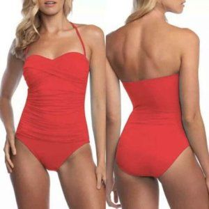 La Blanca Island Goddess Ruched Bandeau One-piece